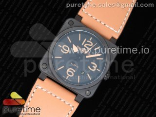 BR 03-92 Real Ceramic Case 1:1 Best Edition Black Dial Brown Markers on Brown Leather Strap MIYOTA 9015 (Free Nylon Strap)