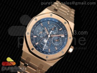 Royal Oak 41mm Complicated Function 26574 RG JF 1:1 Best Edition Blue Textured Dial on RG Bracelet A5134