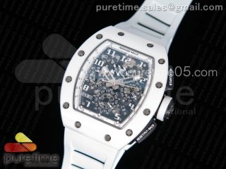 RM011 Real White Ceramic Case Chronograph KVF 1:1 Best Edition Crystal Skeleton Dial on White Rubber Strap A7750