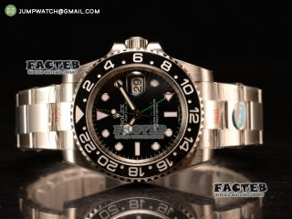 GMT-Master II 40 SS 1:1 Polished Bezel NOOB Best Edition Black Dial Dots Markers on SS Bracelet Clone 3186