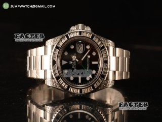 Rolex GMT-Master II All Diamond Black Bezel Automatic (Correct Hand Stack) 116759SANR