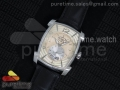 Kalpa Grande SS Cream Textured Dial on Black Leather Strap A331